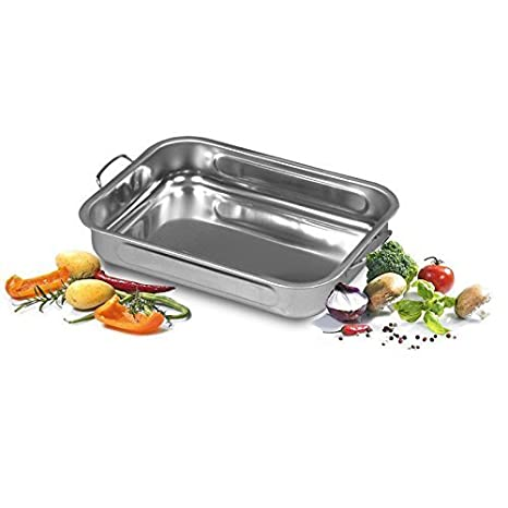 Amazon.com: My Basics Oven Baking Pan Roasting with Drop Handles Stainless Steel 12 Inches: Kitchen & Dining