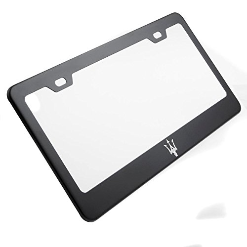 One Matte Black Maserati Logo Mirror Laser Engrave Stainless Steel License Plate Frame Holder Front Or Rear Bracket Steel w/ Screw Cap