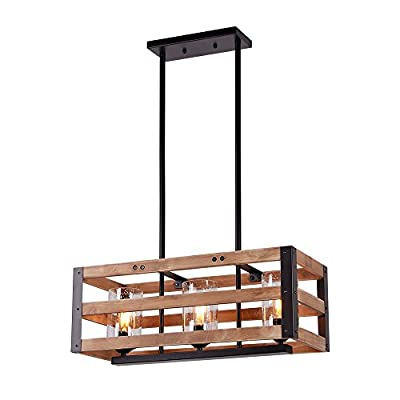 Eumyviv Rectangle Three Tiers Wood Metal Pendant Lamp with Glass Shade Black Finished Retro Rustic Vintage Industrial Edison Ceiling Lamp Linear Chandeliers (C0027 3-Lights)