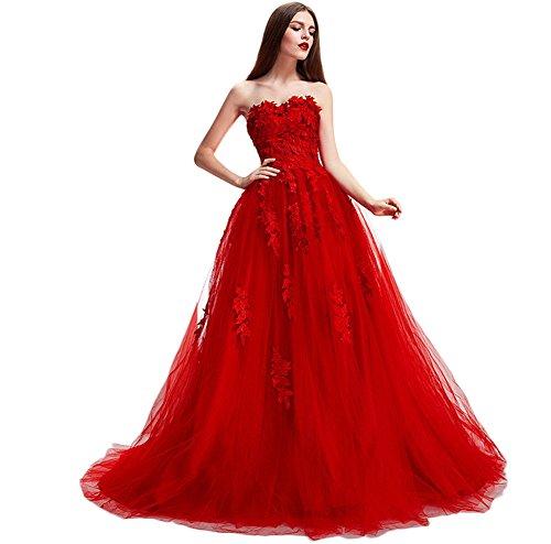 Besswedding Dentelle Chérie Longue Sexy Femmes Robes De Soirée De Mariage Pour Les Mariées Rouges