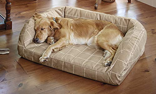 Orvis Toughchew Memory Foam Bolster Dog Bed/Small Dogs Up to 40 Lbs, Taupe, Small