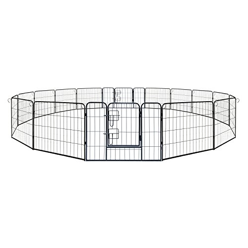 ALEKO 2DK24X32 Heavy Duty Pet Playpen Dog Kennel Pen Exercise Cage Fence 16 Panel 24 x 32 Inches Black