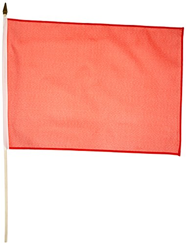 Red Standard Flag (Quality Standard Flags One Dozen Red Stick Flag, 12 by 18