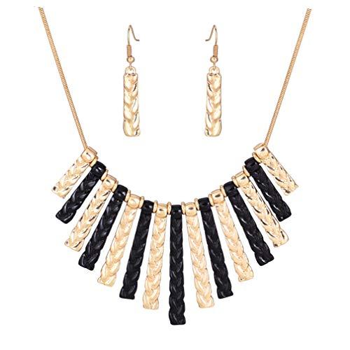 HSWE Women's Statement Hammered Bib Collar Necklace Enamel Tricolor Chunky Choker Necklace Earrings Set (Black&Gold)