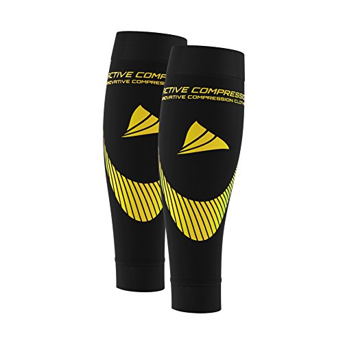 nbsp;calf Tous Pour Mollets Les Extra tubes Bas jaune nbsp;– Sports Noir De Strong Pied Collants Active Sans Sleeves Compression 48qn6H