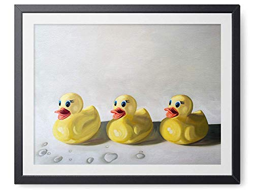 Rubber Ducky Trio - Oil Painting Giclée Paper - or - Canvas Print Modern Home Office Wall Art Decor - Variety of Sizes Available