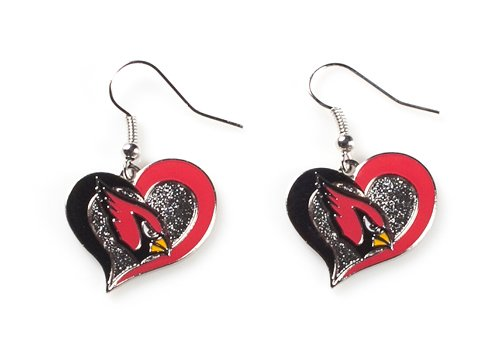 Arizona Cardinals NFL Sports Team Logo Swirl Heart Shape French Hook Style Charm Dangle Earring Set