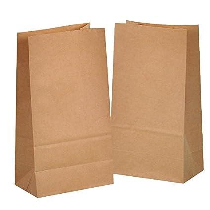 25 Kraft marrón bolsas de papel con base 14 x 8 x 26 cm, 70