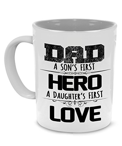 My Hero Father Gifts to Dad from Daughter and Son - Fathers Day, Birthday Coffee Mug