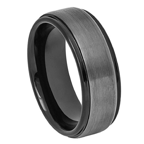 (8mm Tungsten Carbide Two-tone Black IP Gun Metal Brushed Center Stepped Edge Wedding Band Ring)