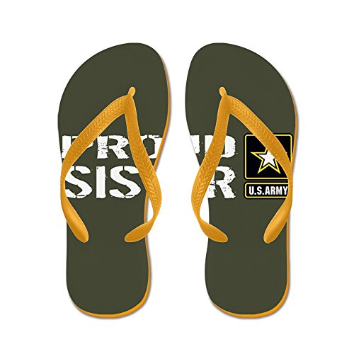 Cafepress Us Army: Proud Sister (military Green - Flip Flops, Funny Thong Sandals, Beach Sandals Orange