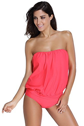 Cfanny Women's Solid Colored Bandeau Two-Piece Relaxed Sports Tankini Swimsuit,Red,XXX-Large