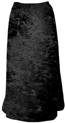 Sanctuarie Designs Women's Black Solid Crush Velvet Plus Size Supersize Skirt