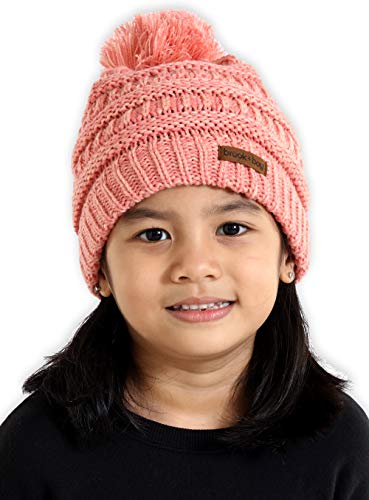 (Brook + Bay Kids Pom Pom Beanie - Fits Girls, Boys, Babies, Toddlers & Children Ages 2 & Up - Thick, Soft & Warm Cable Knit Hats - Cozy Kids)