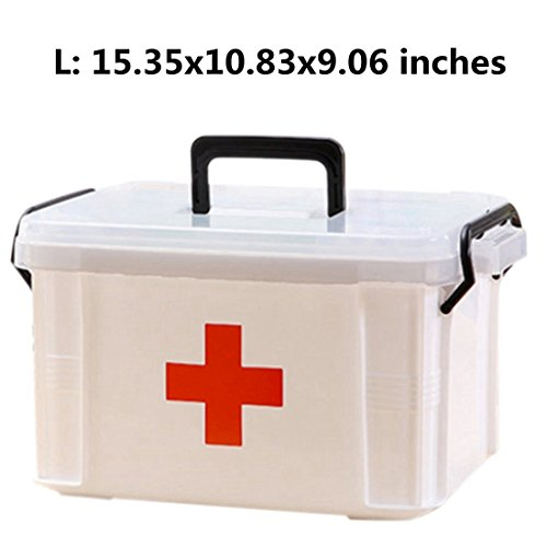 Family Medicine Cabinets, Petforu Household Medical Box EMPTY First Aid Kit Plastic Storage Pill Cases - WHITE L (Cabinet Cross Medicine Red)