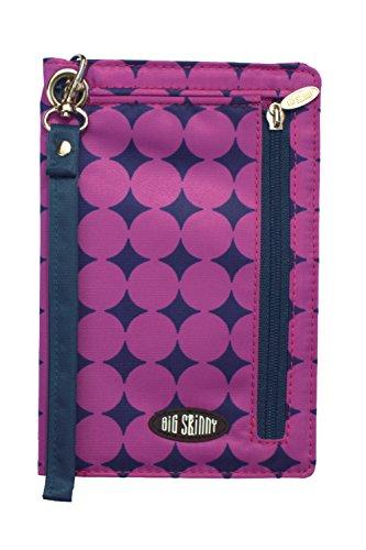 Big Skinny Women's Plus Myphone Bi Fold Slim Plum Dot Wallet Wristlet, Purple, One Size