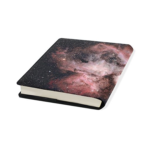 Black Star Stretchable Leather Book Covers Standard Size for Student Hardcover Textbooks Fits Up to 9x11-Inch for School Girls Boys Gift ()