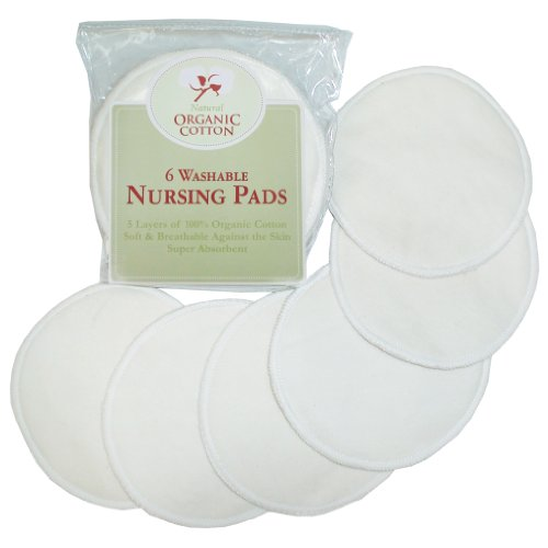 TL Care Nursing Pads Made with Organic Cotton, Natural Color, 6 Count ()