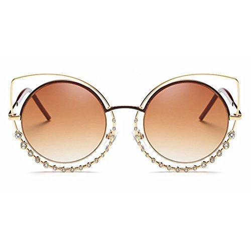 Soleil Clear Tea Gold de Frame Lunettes Lens Soleil Yiyepoetry de Color Pink Eyes Cat's Femmes pour Frame Diamond avec Lens Lunettes qHw5ZE