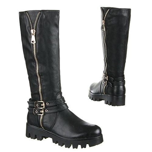Black Ital Biker Boots Black Design Women's FSSwrqXf