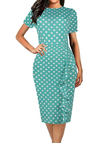 oxiuly Women's Casual Polka Dot Short Sleeve Round Neck Work Business Pencil Plus Sheath Dress OX055 (XXL, Green dot)