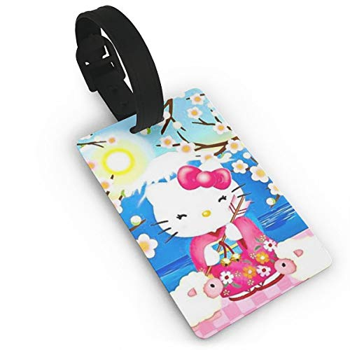 SWDFFG Luggage ID Tags- Stylish Kimono Hello Kitty Print PVC Suitcase Bag Labels Travel Accessory ()