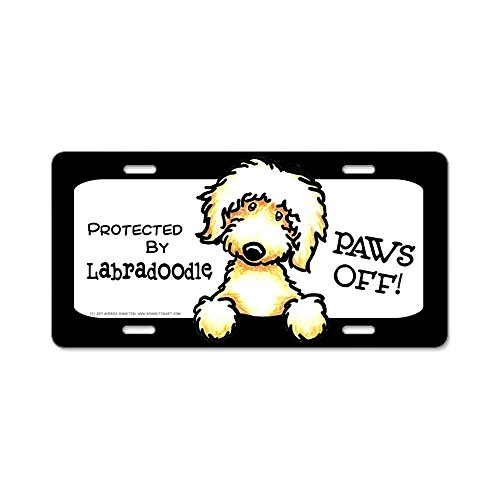 - CafePress - Labradoodle Yw Paws Off Aluminum License Plate - Aluminum License Plate, Front License Plate, Vanity Tag