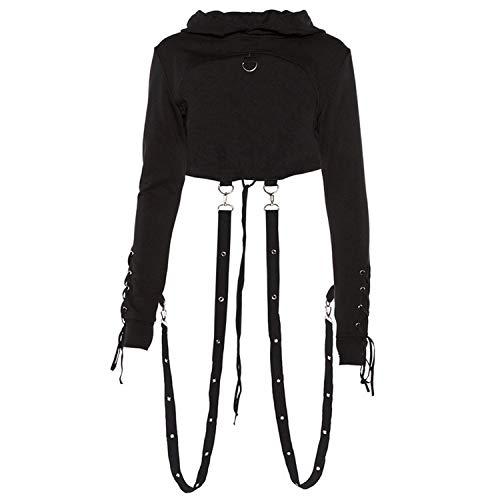Wind House Black Hoodie Women Long Sleeve Gothic