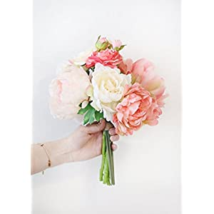 "Afloral Blush Coral Silk Peony and Ranunculus Bouquet - 13"" Tall 24"