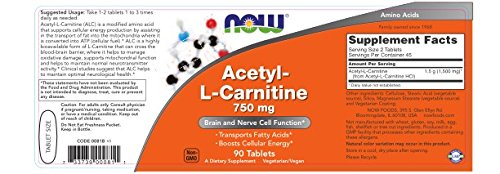 NOW Foods Acetyl L Carnitine 750mg, 90 Tablets