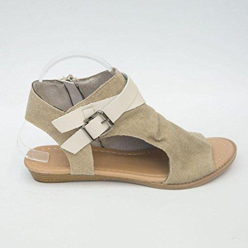 Summer Women Sandals, Women   Fish Mouth Shoes   Sandals Flat Heel Solid Ankle Strap Slipper Sandals Beige