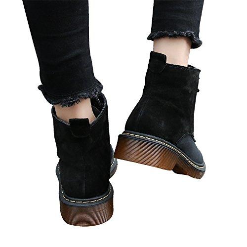 Smilun Damen Kurzschaft Stiefel Reißverschluss Stiefelette Schwarz