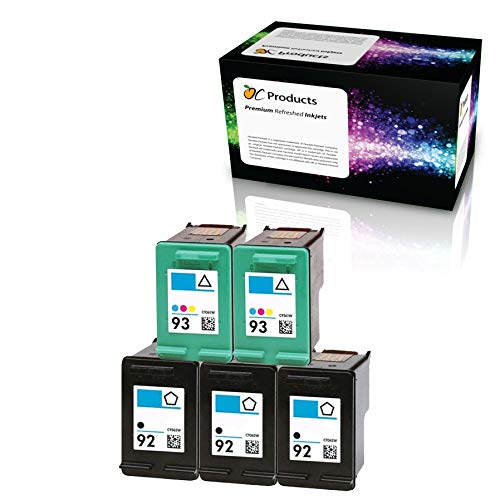 OCProducts Refilled HP 92 HP 93 Ink Cartridge Replacement for HP PSC 1510 PhotoSmart C3180 C4180 C3100 Deskjet 5440 D4160 Printers (3 Black 2 Color) (Hp Ink 92 93)