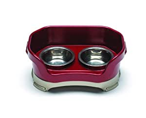 Neater Feeder Deluxe Small Dog (Cranberry) - The Mess Proof Elevated Bowls No Slip Non Tip Double Diner Stainless Steel Food Dish with Stand