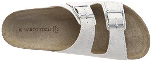 Marco Tozzi Damen 27401 Pantoletten Weiß (White Metallic)
