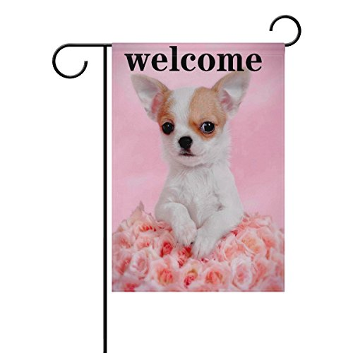 WXLIFE Puppy Dog Chihuahua Welcome Flower Rose Garden Flag 28 X 40 Large Inches, Double Sided Outdoor Yard Yall Garden Flag for Wedding Party House Home Decor