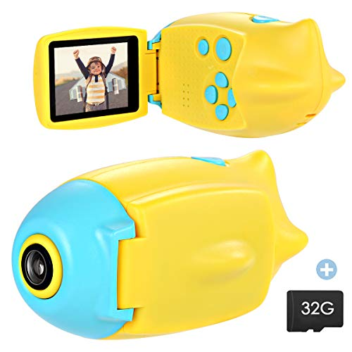 SOONHUA Kid Camera, Mini Digital Photo&Video Toy Camera, Gift for 4 5 6 7 8 Year Old Girls Boys, 2 Inch HD Screen 12MP Child Camcorder with Soft Silicone Shell (32G SD Card Included) (Blue Submarine)