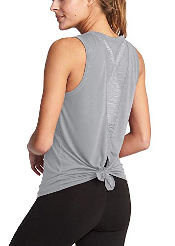 - Bestisun Training Athletic Mesh Shirts Knotted Back Holiday Casual T-Shirts for Leggings Cute Teen Girls Dancing Workout Super Soft Top for Sport Women Gray L