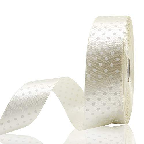 JIWINNER 1 inch Wide Creamy White Polka Dot Satin Ribbon for Gifts Wrapping - 50 Yard ()
