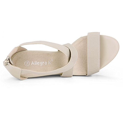 Straps Crisscross Allegra Beige Wedge K K Sandals Womens Allegra wRqpHqvZfX