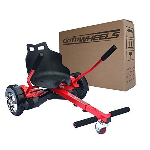 GoToWheels Adjustable Hoverboard Kart Seat Attachment Holder Accessory for 6.5' 8' 10' Two Wheel Self Balancing Scooter Cart with 4 Length Adjustments (Self Balance Board Not Included) (Red)