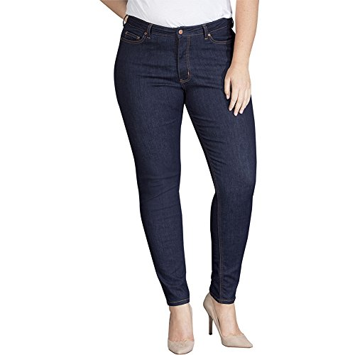 Dickies Women's Plus Size Perfect Shape Denim Jean-Skinny Stretch, Rinsed Indigo Blue, 18WRG - Dickies Skinny Jeans