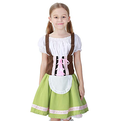 CASABACO Girl Anime Cosplay Costume Apron Maid Dress Halloween Christmas Theater School Festival Performance Prairie Farmyard, L Green -
