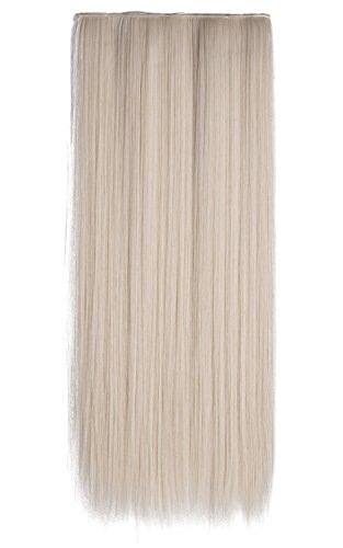 Onedor 24'' Straight 3/4 Full Head Synthetic Hair Extensions Clip-on Clip-in Hairpieces (60#-platinum Blonde) by Onedor