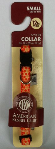 AKC Small Dog Collar Nylon Big Dot Orange, 8-12""