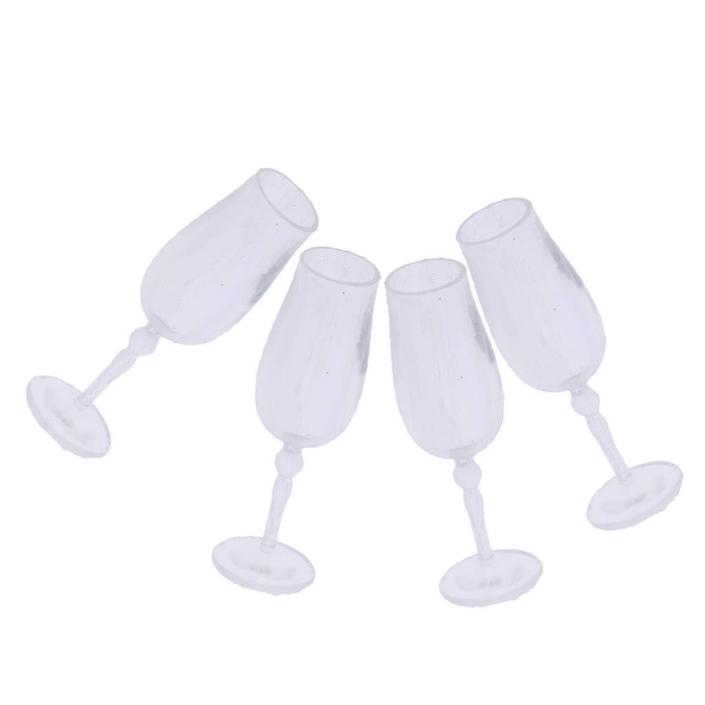 Homyl 4//8 Unids Copa de Vino Transparente Realista en Miniatura Decoraci/ón para Dollhouse 1//12-8pcs
