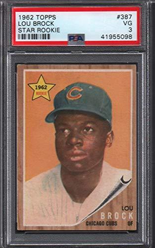 Lou Card Baseball Brock (1962 Topps Regular (Baseball) card#387-psa lou brock (psa) of the Chicago Cubs Grade Very Good)
