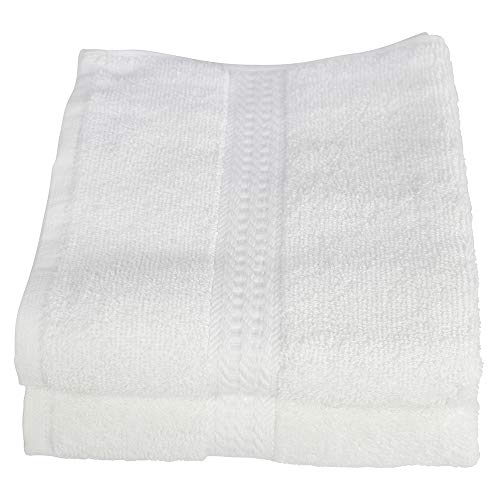 RC ROYAL CREST Resort Collection by Sigmatex - Lanier Textiles HT163045R 100% Cotton Hotel and Spa Quality Towel White 2 Pack (Hand Towel 16 x 30)