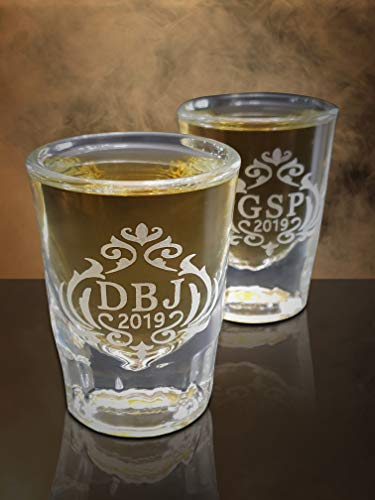 Engraved Shot glass gift, Custom 2oz thick and heavy Whiskey style shot glass, Birthday gift, Groomsman or Usher gifts, His and her gifts (2 Fluted Heavy Oz)
