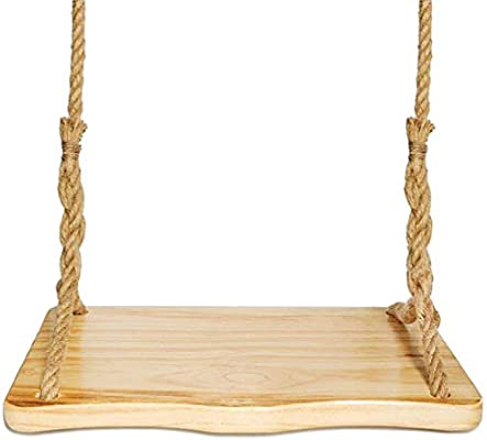 Aoneky Columpio de Madera para Adultos Niños - Columpio Colgante Infantil para Jardín Exterior, Columpio con Cuerda de 3M, Asiento de Madera Pino 60×33 cm, Carga de 160 kg (Pino Redondo): Amazon.es: Jardín